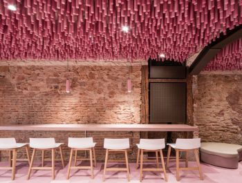 Pink-Painted Wooden Sticks | Ideo arquitectura