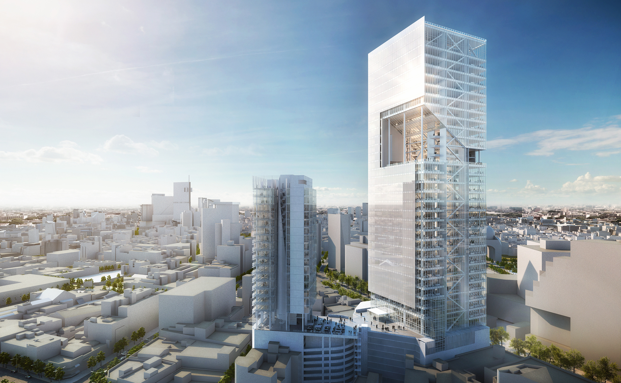 52e7dd94e8e44e776800002d_richard-meier-designs-180-meter-tower-development-in-mexico_rmp_reforma_towers_aerial_view