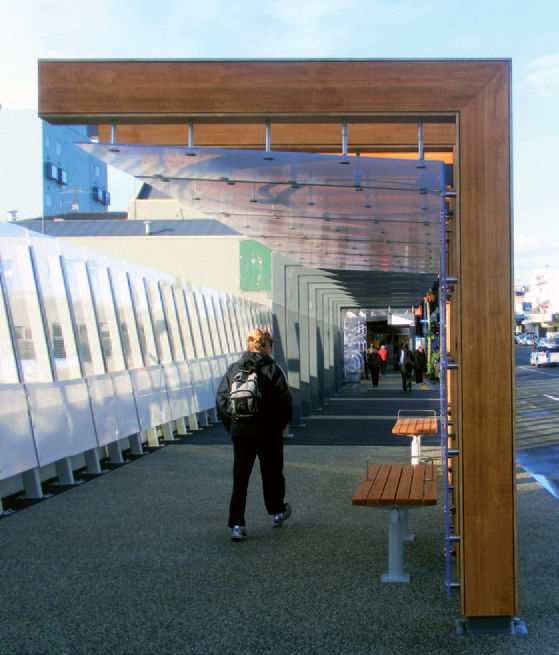 Wood Bus Shelter : Auckland transport bus shelter accoya wood