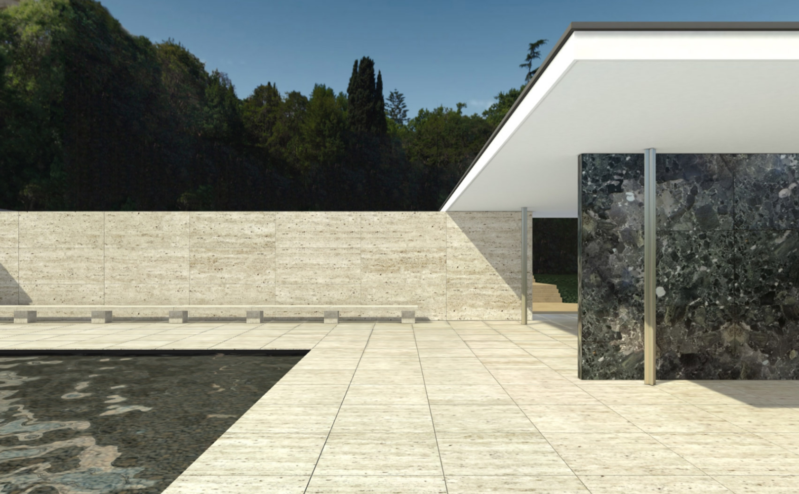 m classic barcelona pavilion mies van der rohe. Black Bedroom Furniture Sets. Home Design Ideas