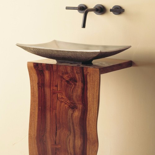 Stone-Forest-WD-05-32-Wood-L-slab-pedestal-with-bronze-zen-sink